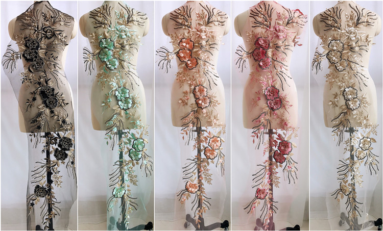 Flower Embroidery Large Applique Patch Lace Fabric Sew On Cloth Dress Decoration Stick Accessory Lace Fabric