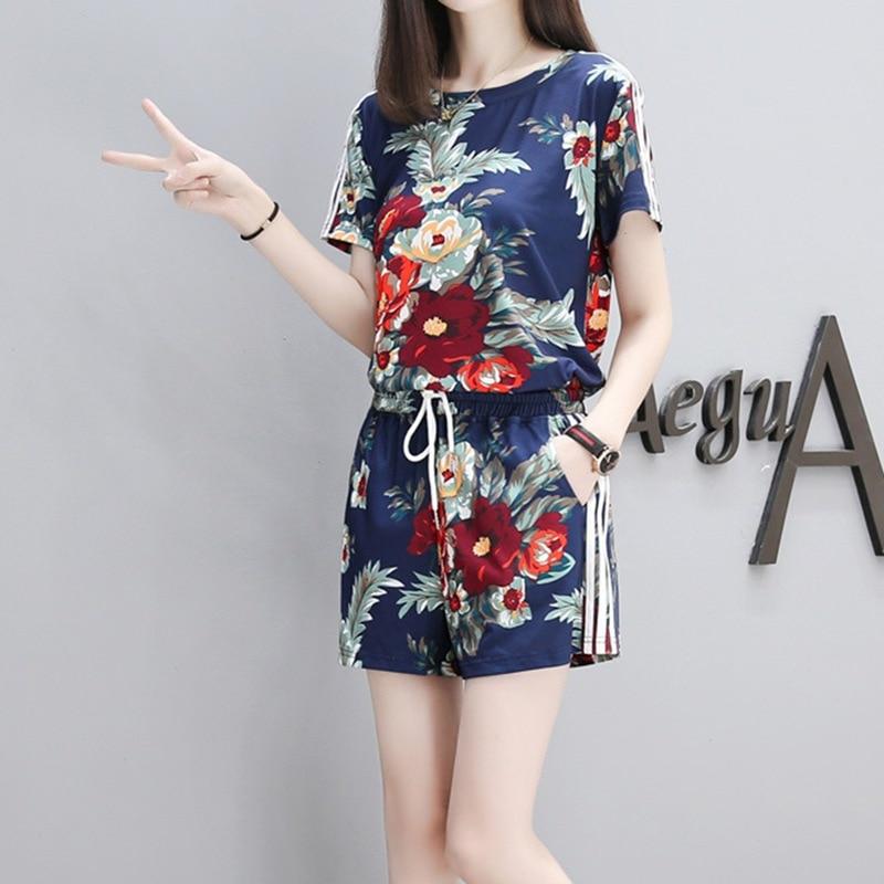 Women Summer Flower Printed Sets Short Sleeve Tops Drawstring Waist Shorts Suits Female Suit 3XL 2 Pieces
