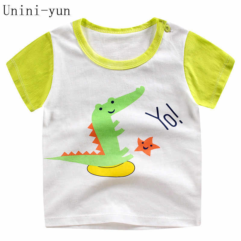 [חדש] סתיו קיץ כותנה ילדים מצוירים חולצה דינוזאור קצר שרוול תינוק בני בנות חולצה ילדי סוודרי טי ילד