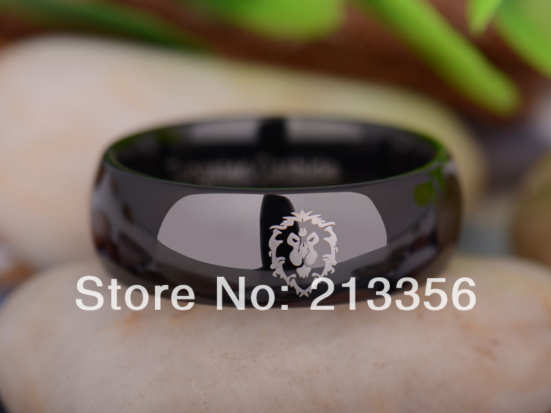 Free Shipping UK Russia Brazil USA Hot Selling 8MM Black World of Warcraft Alliance Men's Fashion Tungsten Carbide Wedding Ring