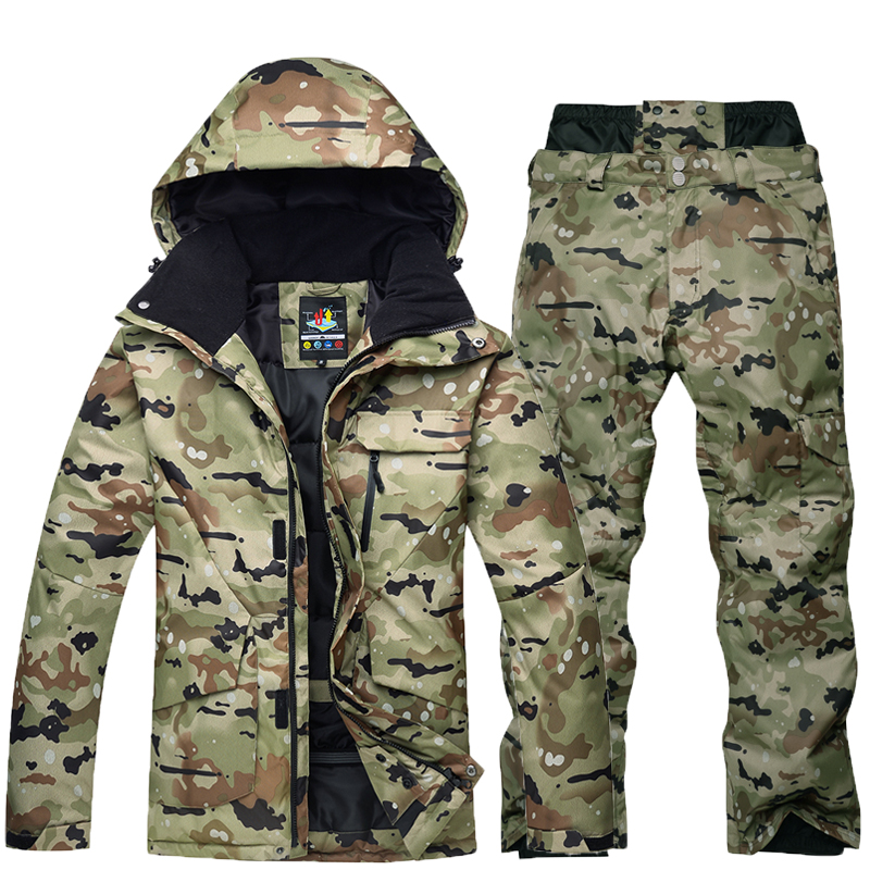 -30 Camouflage Men Snow clothes Skiing suit sets specialty snowboarding sets Waterproof thicker cotton Snow jackets and pants