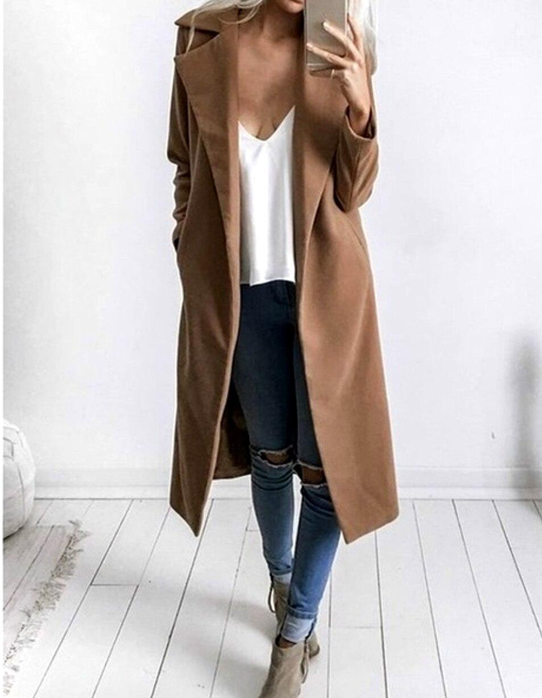 New Women   Trench   Coats Outerwear Woolen Coat Female Women Overcoat Autumn Winter Wide Lapel Pocket Oversize Long   Trench   Coat