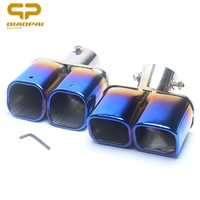 Modified Car Exhaust Muffler Chrome Trim Rear Muffler Tip Pipe Stainless Steel Double Exhaust Tail Turbo Sound For Volkswagen
