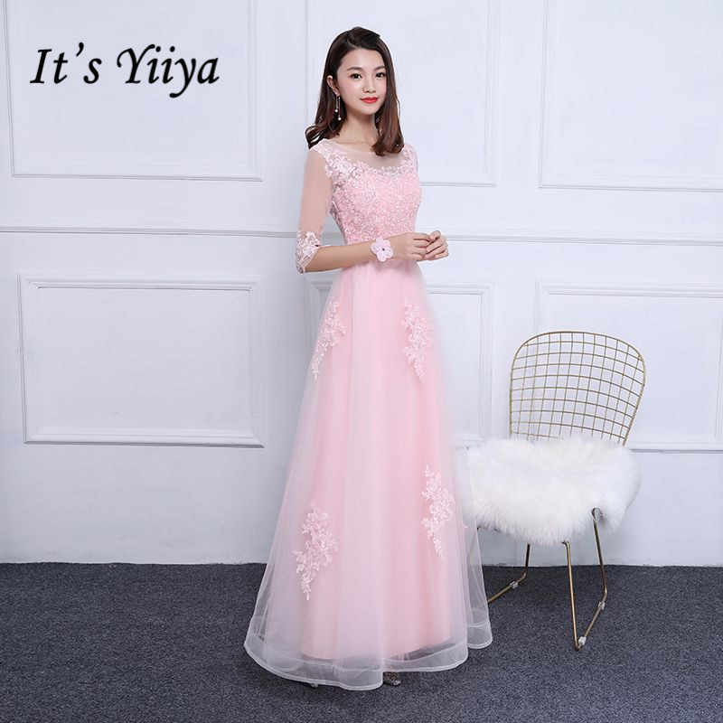 It's YiiYa Pink Half Sleeves Illusion O-neck Lace Up Party Frocks Appliques   Dresses   Floor Length   Evening     Dress   MX006