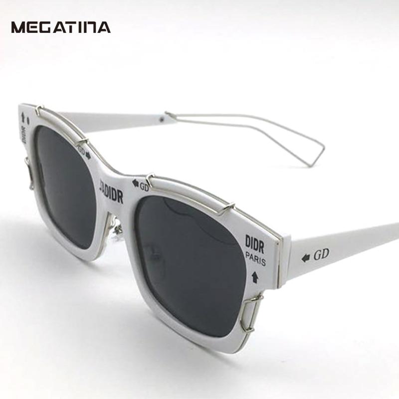 Megatina vintage vierkante zonnebril damesmode metalen stiksels - Kledingaccessoires
