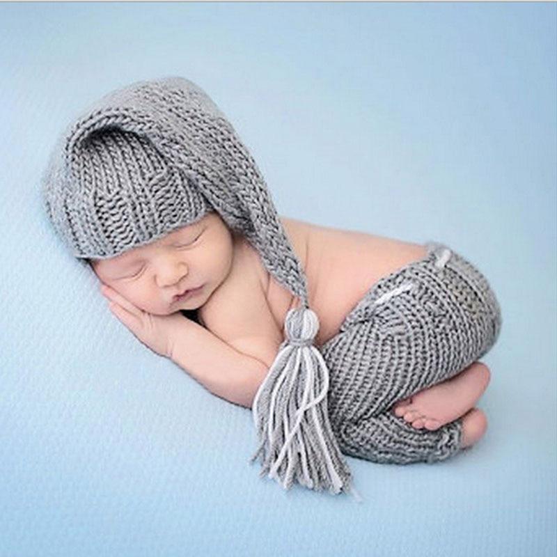 Для новорожденных мальчиков и девочек Симпатичные крючком вязать костюм наряды для фотосессий