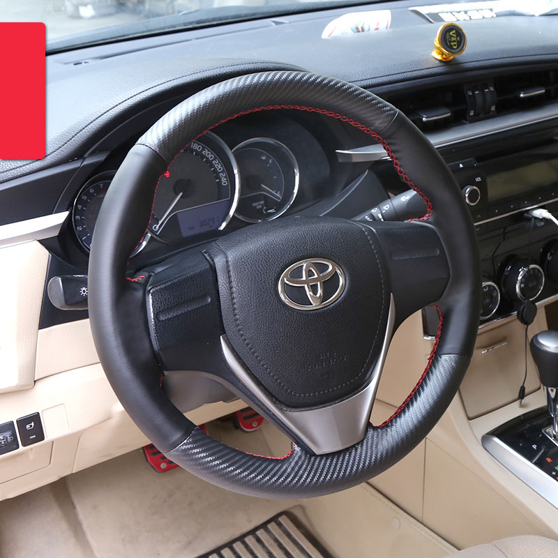 lsrtw2017 car styling cowl leather car steering wheel cover for toyota corolla 2013 2014 2015 2016 2017 2018 E170