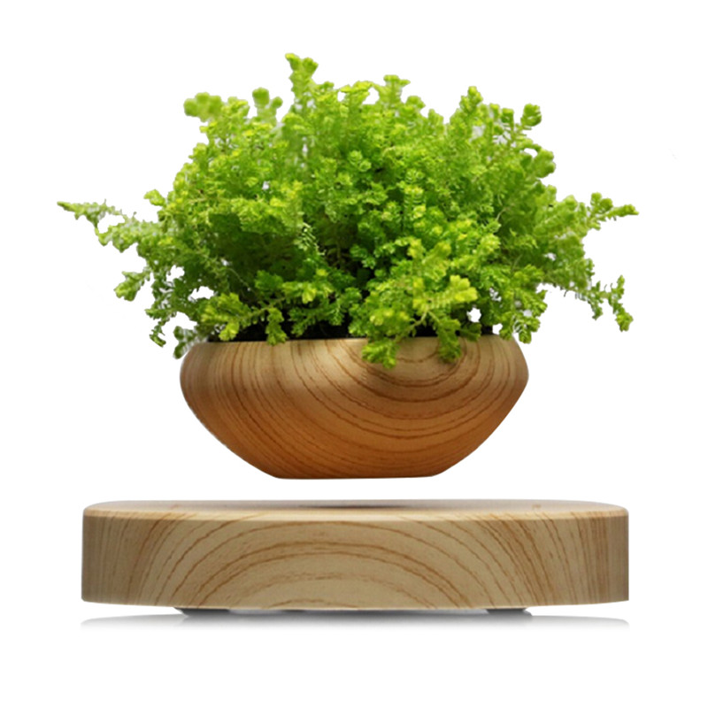 Magnetic Suspended Flower Pot Wood Grain Round LED Levitating Indoor Air Plant Pot No Plant US