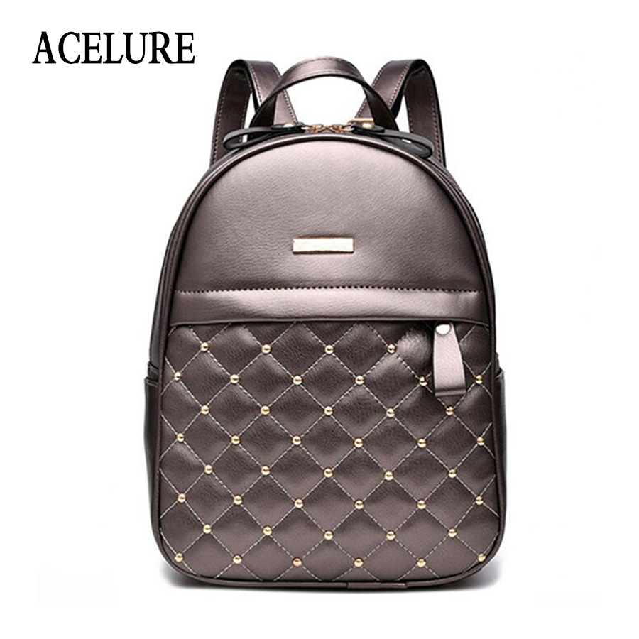 Acelure Women Backpack Hot Sale Fashion Causal Bags High Quality Bead Female Shoulder Bag Pu Leather Backpacks For Girls Mochila