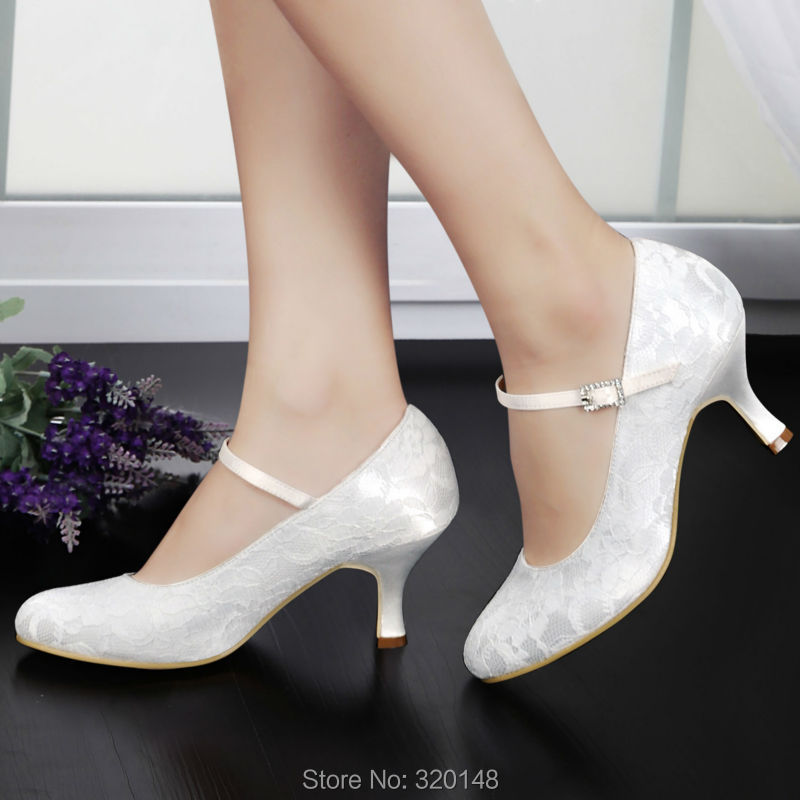Woman Shoes White Ivory Low Heel Mary Jane Rhinestones Shoes Comfort Buckle Lace Bride Pumps Women