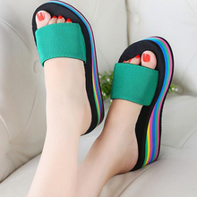 Women sandals slippers 2017 new summer fashion rainbow leopard muffin sandals home shoes wedge heels beach sandals z158