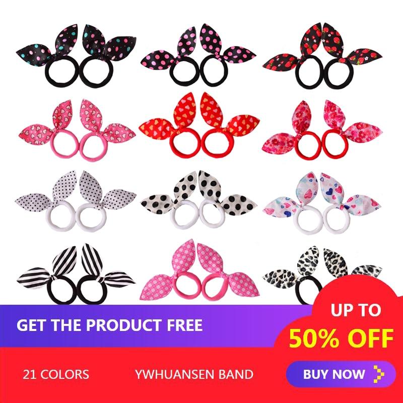 YWHUANSEN 2pcs/pair gum for hair women hair band Nylon Rabbit ears hair accessories Print woman Elastic hair band women   headwear