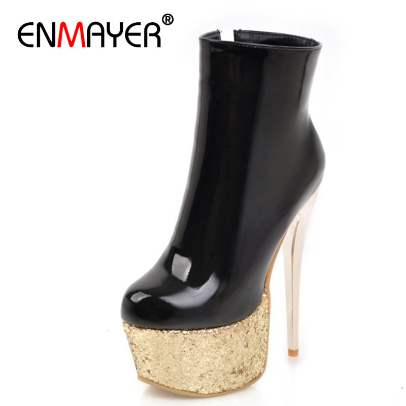 ENMAYER Bling Platform Shoes Woman Round Toe Ankle Boots for Women High Heels Zippers White Plus Size 34 47 Winter