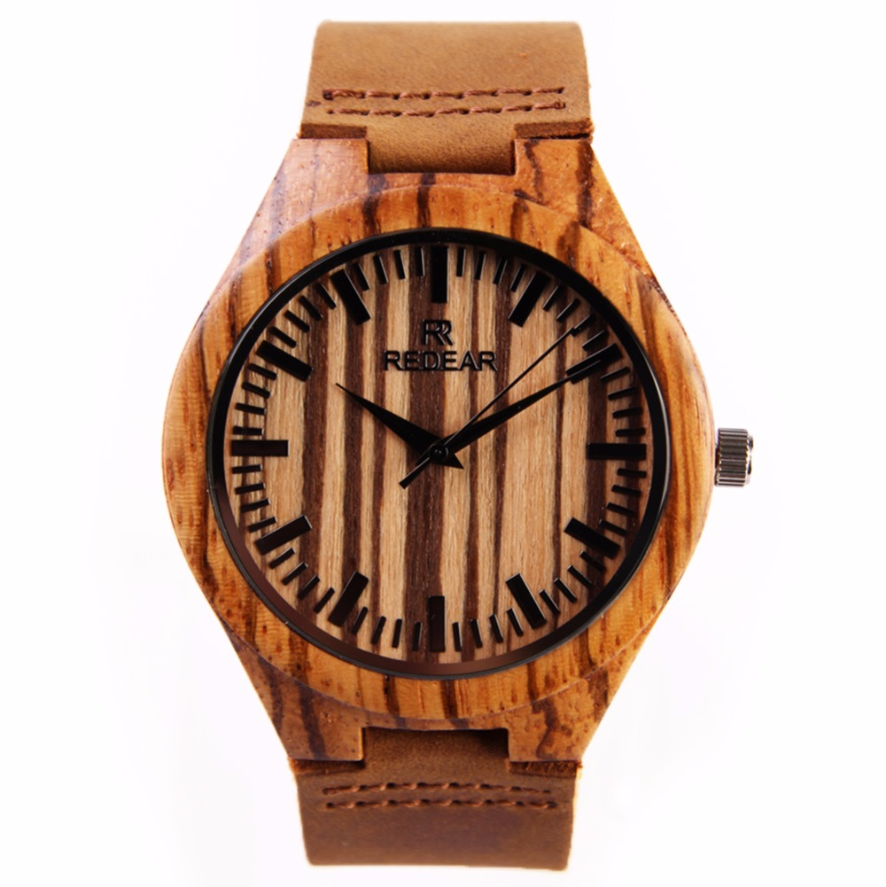 2017 New Zebra Wood Watch Men s Bamboo Watch Genuine Cowhide Leather Band Luxury Japan MIYOTA