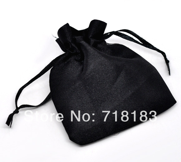 50pcs/lot Drawable Black Satin Wedding Gift Package Bags Shopping Pouches Bags 10x8cm (W03663)