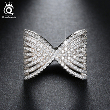ORSA JEWELS 2016 Bow Design Brilliant CZ Rings with Perfect Polished Platinum Plated for Women Wedding Party Ring OR90