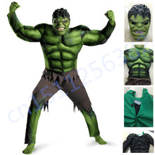 Мстители Костюм Халка для мальчиков косплей Хэллоуин костюм для детей Карнавальная одежда Детские подарки Фэнтези маска для мышц