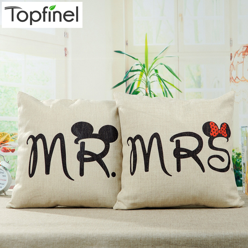 Top Finel Hot MR and MRS Decorative Throw Pillows Case Linen Cotton Cushion Cover Creative Decoration for Sofa Car Cover 45X45cm