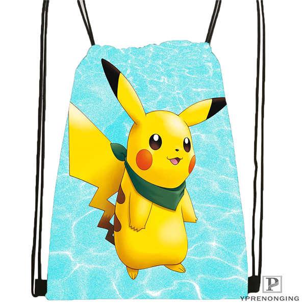 Custom Pokemon  Drawstring Backpack Bag Cute Daypack Kids Satchel (Black Back) 31x40cm#180612-02-32