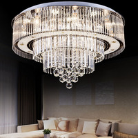 Luxury Contracted Crystal Hall Ceiling Light Circular LED Lamps Section Remote Control Living Room Hotel Indoor Lamp lighting