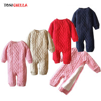 Baby Romper Thick Clothes Long Sleeve Knitted Sweater O Neck Warm Jumpsuit Newborns Boys Girls Winter