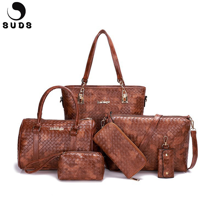 SUDS Brand 5pcs/set Women PU Leather Handbags 2018 Large Capacity Female Knitting Tote Shoulder Bags High Quality Crossbody Bags 2018 fashion tote bag for women composite bags high quality pu leather ladies handbags brand large capacity women crossbody bags