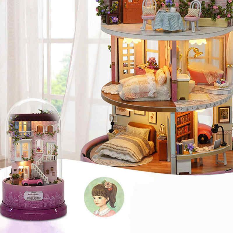 DIY кукольный домик Миниатюрный 3D пазл набор-модель здания Сказочный Дом Деревянный сборный дом со светодиодным светильник для детей ручной творческие подарки