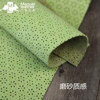 Luz de cuero de vaca verde con seis hojas de la flor, pequeña impresa tela de cuero, regular de cuero cuadrada