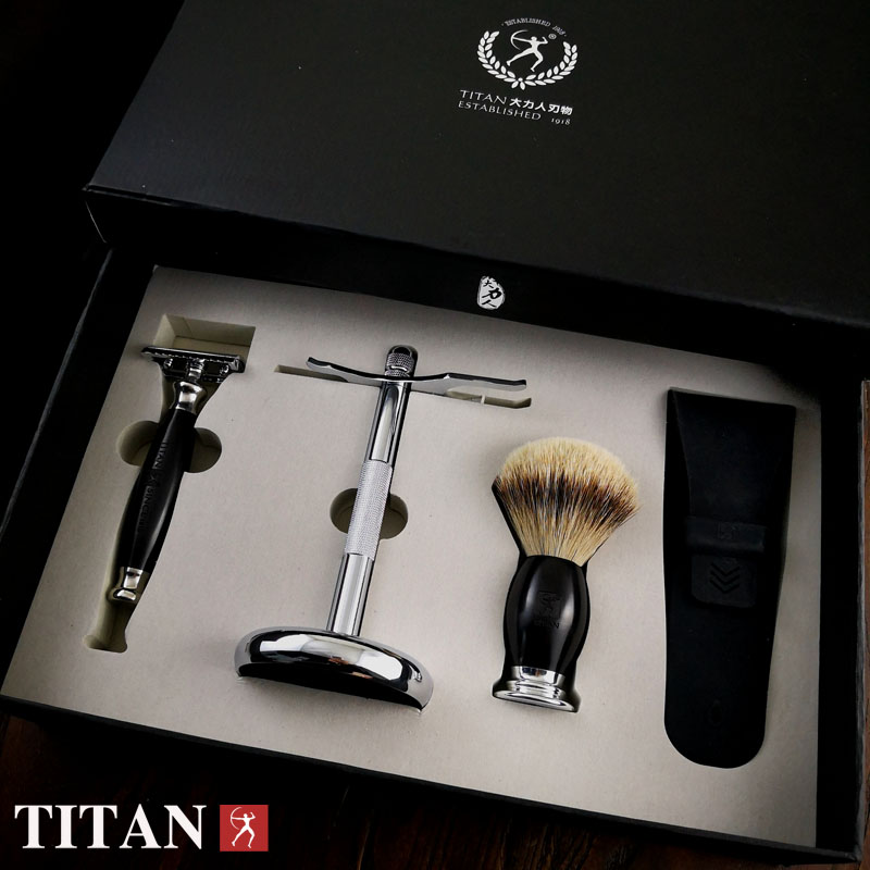 Titan safety razor set wood handle razor with stand shaving brush free shipping shaving product