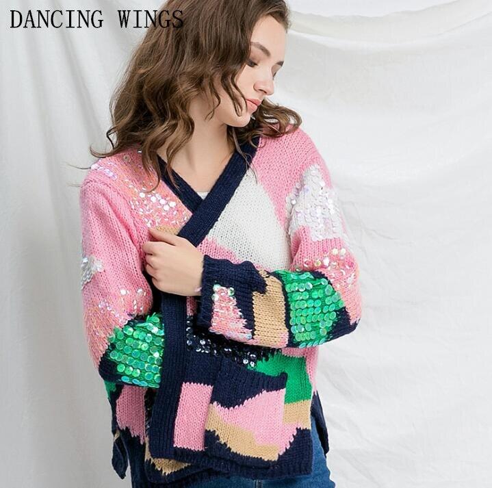 Automne mode Sequin Hit couleur pull rose pull tricoté pull à manches longues femmes Cardigans
