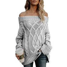 Casual Off Shoulder Long Sleeve Twist Sweater Boat Neck Thick Cotton Knit Pullover Loose Winter Top