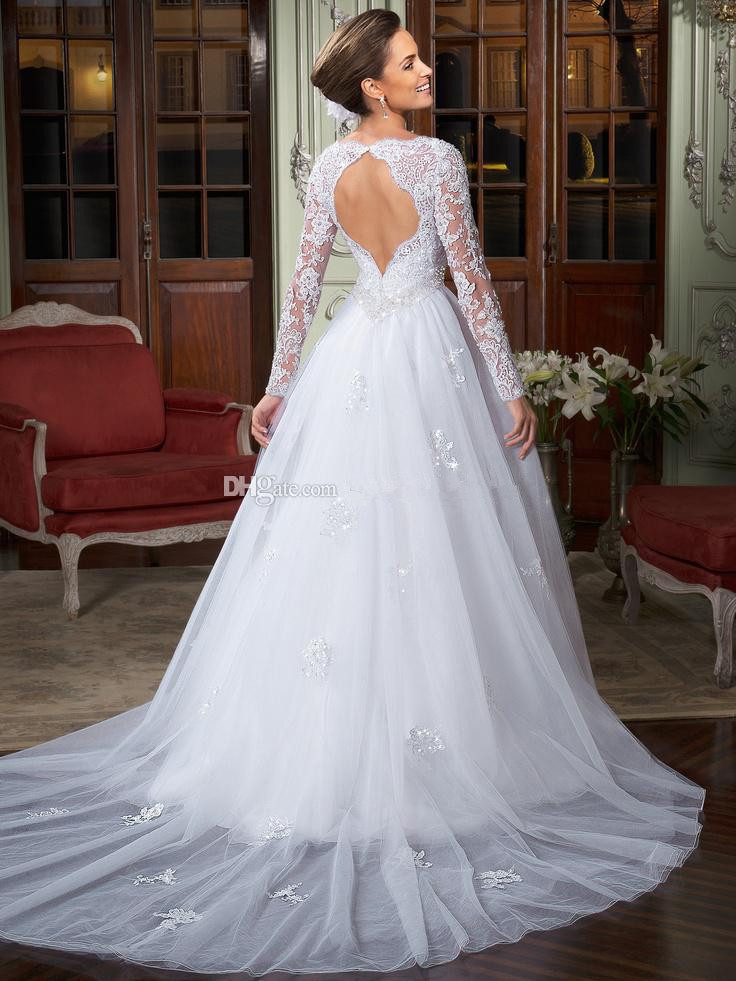 591516300031 New Long Sleeve Backless Removable Train White Beaded Lace Wedding Dress  Bridal Gown Custom Made Size 4 6 8 10 12 14 16 18+ W516-in Wedding Dresses  from ...
