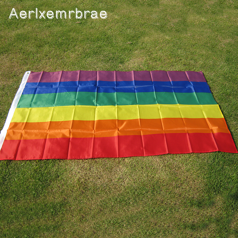 pulsuz çatdırılma Aerlxemrbrae Rainbow Flag 3x5 FT Polyester Bayraq Gay Pride Peace Flags LESBIAN PRIDE PEACE Pennants Flag