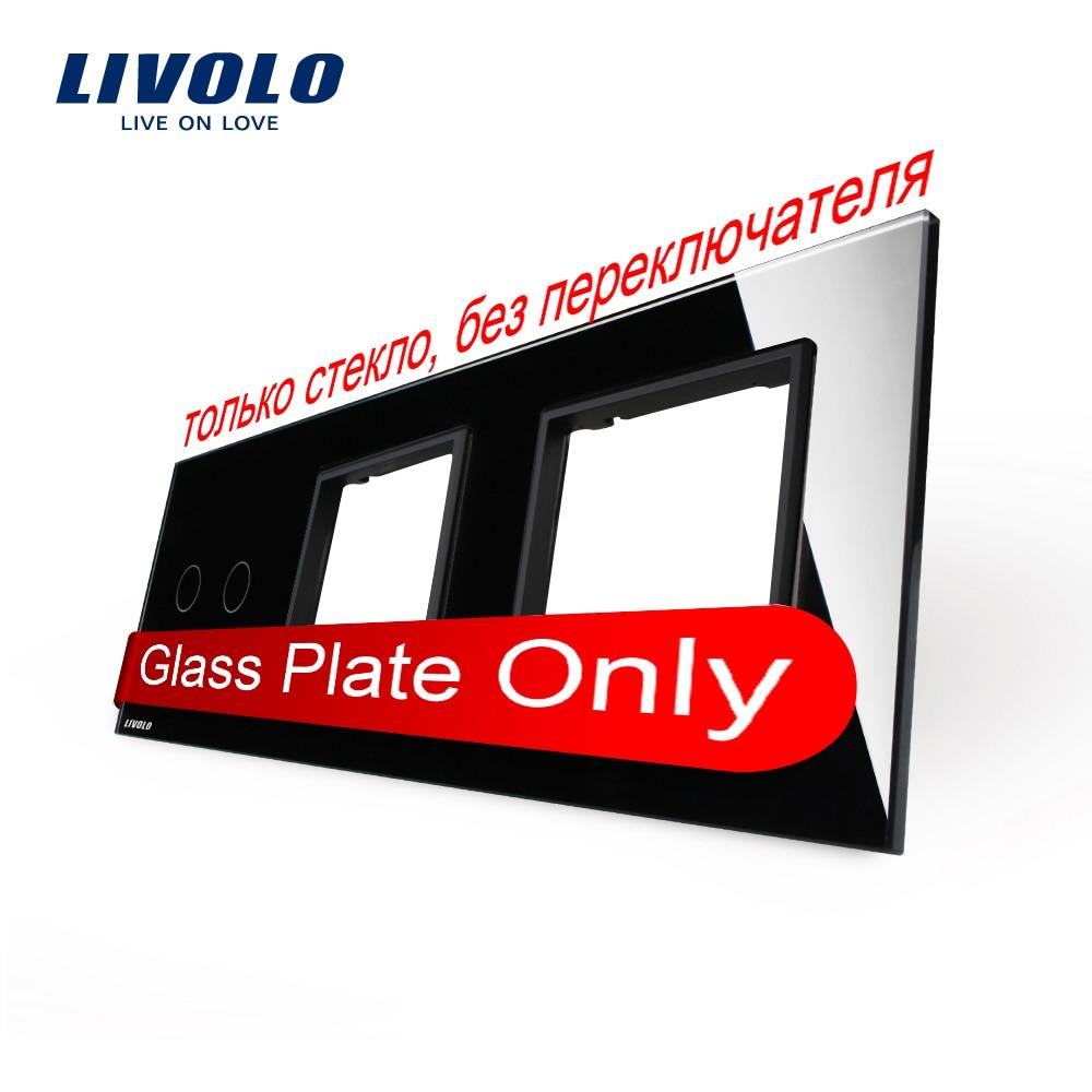 Free Shipping Livolo Luxury Black Crystal Glass 223mm 80mm EU standard 2Gang 2 Frame Glass Panel