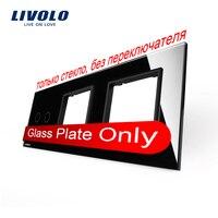 Free Shipping Livolo Luxury Black Crystal Glass 222mm 80mm EU Standard 2Gang 2 Frame Glass Panel