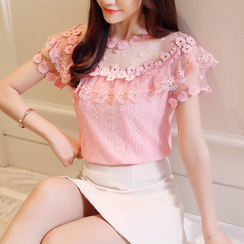 Las Tops Rosado 2018 Corta Moda Manga Mujeres Mujeres Floral Blusas Verano Sexy La blanco 0051 Camisa Nuevo 30 Blusa Encaje De Ropa FqxEEOwgR