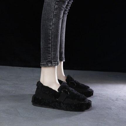 Casual Femmes 1 2 Velours Coréenne Plat Chaussures Nouvelle Fourrure Plus 2018 Version De Sauvage Pois UBPRT