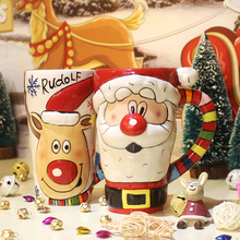Hand-painted Mug Santa Claus Ceramic cup with spoon Cover Water Coffee milk mugs Cup Creative Christmas Gift Free Shipping