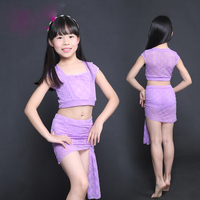 Girls Belly Dance Costume Short Sleeve Lace Top Skirt Oriental Costumes For Kids Bellydance Carnaval Practice Clothes DN2284