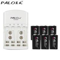 PALO 6pcs 9v Battery 600mAh 9V Lithium Battery 9 Volt Li Ion Lithium Battery Dedicated 2