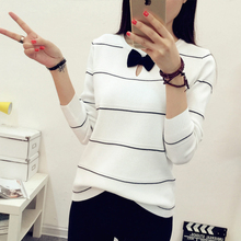HAO HE SHEN 2017 new spring neck long sleeved Pullover Sweater sweater bow Korean Stripe Shirt