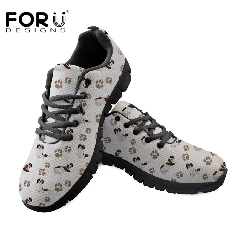 FORUDESIGNS Black Shoes Women Saint Bernard Print Flats Shoes Sneakers for Ladies Lace-up Casual Female Shoes Flat Zapatos Mujer