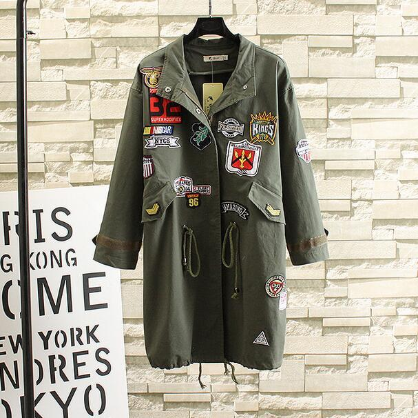 2017 Новая Мода Army Green Женщины и Черный Плащ с Патч Дизайн femme плащ плюс размер T650