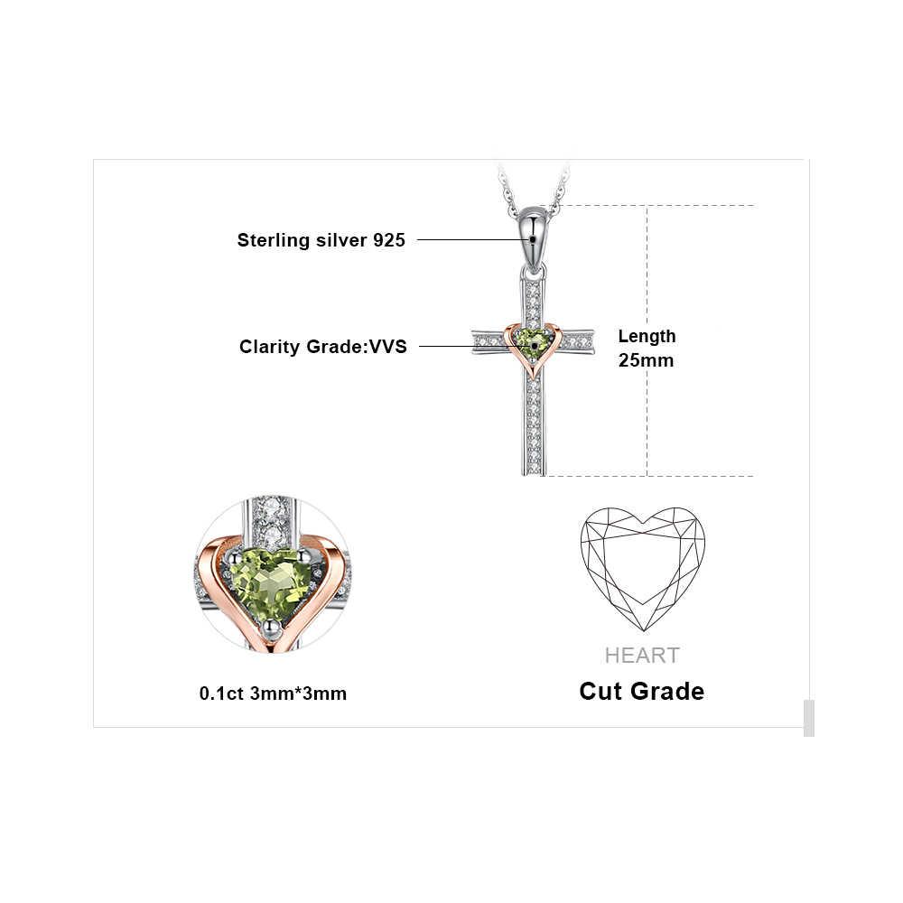 JPalace Cross Lover Natuurlijke Peridot Hanger Ketting 925 Sterling Zilveren Edelsteen Choker Statement Ketting Vrouwen Zonder K
