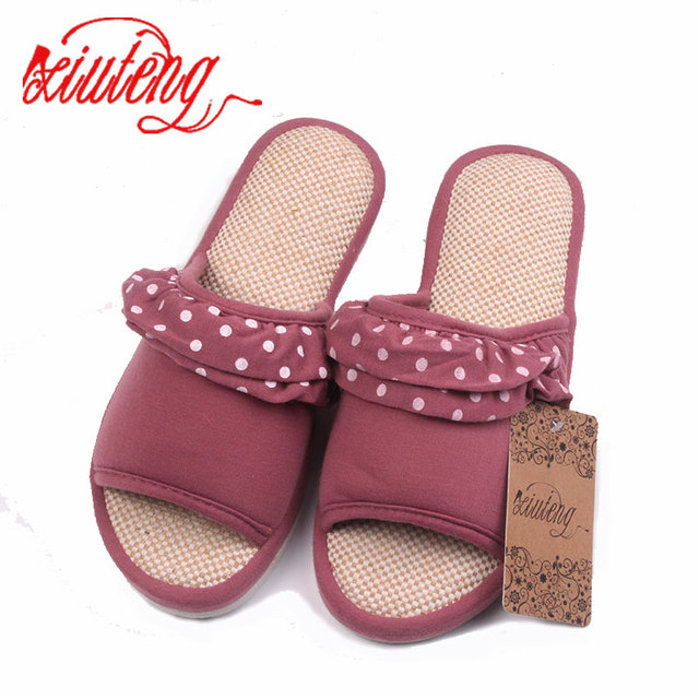 fa004ba54 Xiuteng Women Summer Sandals Hemp Soft Slippers Lace decoration Casual  Shoes Female Fashion Home Candy colors Star Flip Flops