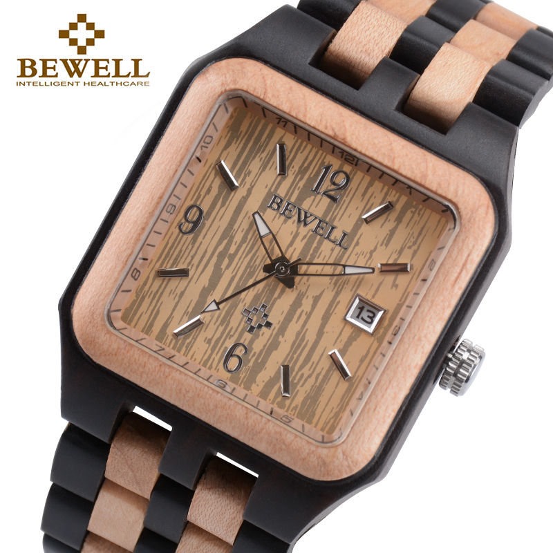 BEWELL 111A Black Rectangle Quartz Wood Watch for Men Wooden Square Dial Auto Date Box Watch