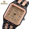BEWELL 111A черные прямоугольные кварцевые деревянные часы для мужчин деревянный квадратный циферблат Авто Дата коробка часы для мужчин люксов...