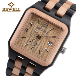 BEWELL 111A Black Rectangle Quartz Wood Watch for Men Wooden Square Dial Auto Date Box Watch Men Luxury Brand Relogio Masculino
