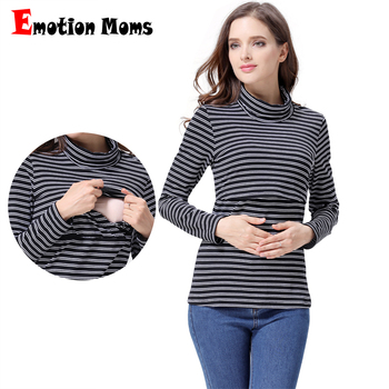 Emotion Moms Autumn Winter Maternity Clothes T-shirts for Pregnant Women Long sleeve Turtlenecks Breastfeeding tops