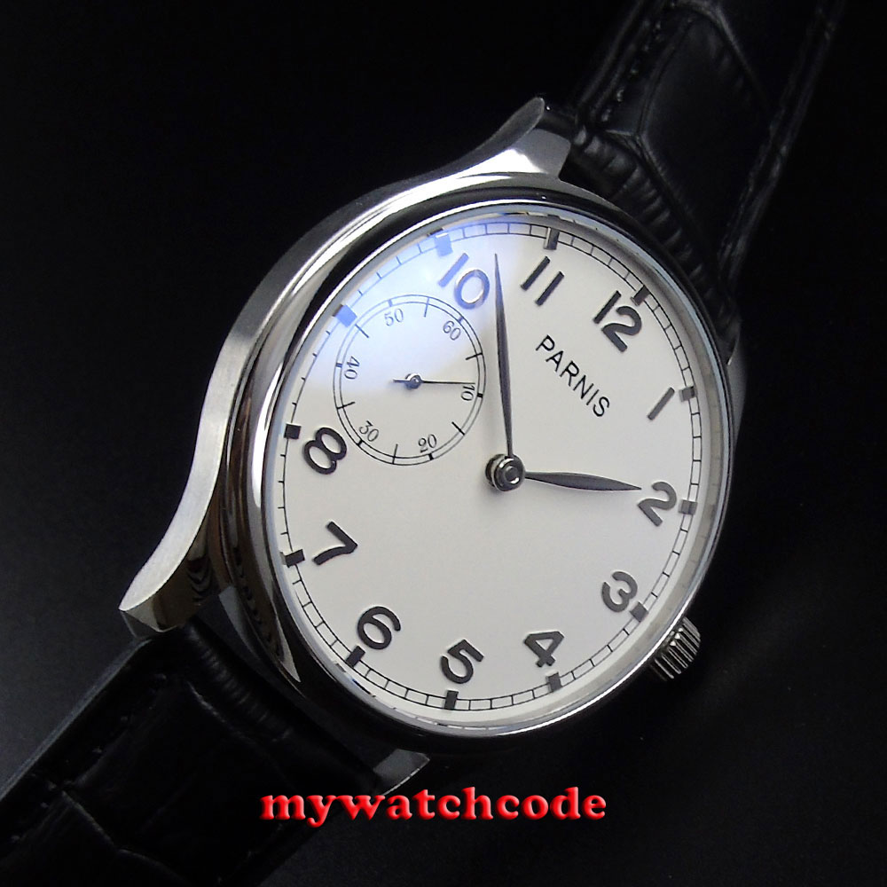 44mm parnis white dial ST 3600 hand winding 6497 mens wrist watch P516 цена и фото